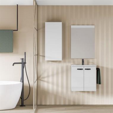 Mueble de baño ANEKO.  Blanco Brillo| Incluye lavabo cerámico y espejo.