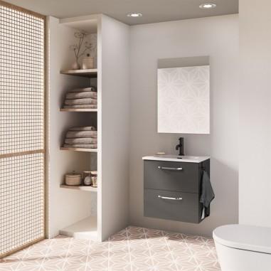 Mueble de baño HONE.  Antracita Brillo| Incluye lavabo cerámico y espejo.