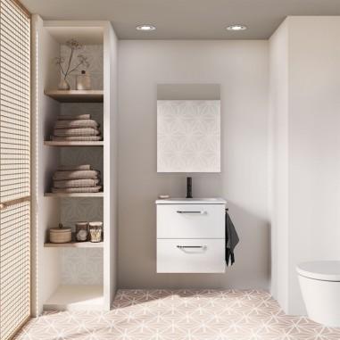 Mueble de baño HONE.  Blanco Brillo| Incluye lavabo cerámico y espejo.