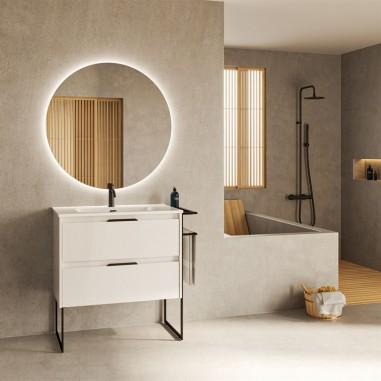 Mueble de baño KEIKO de 80 cms con dos cajones. Acabado en blanco brillo. | Incluye lavabo cerámico.