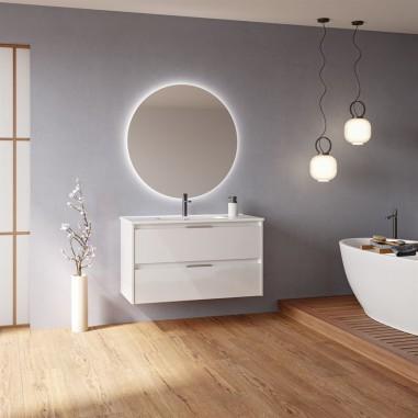 Mueble de baño SUKI de 100 cms con dos cajones. Acabado en Blanco Brillo. | Incluye lavabo cerámico y espejo.