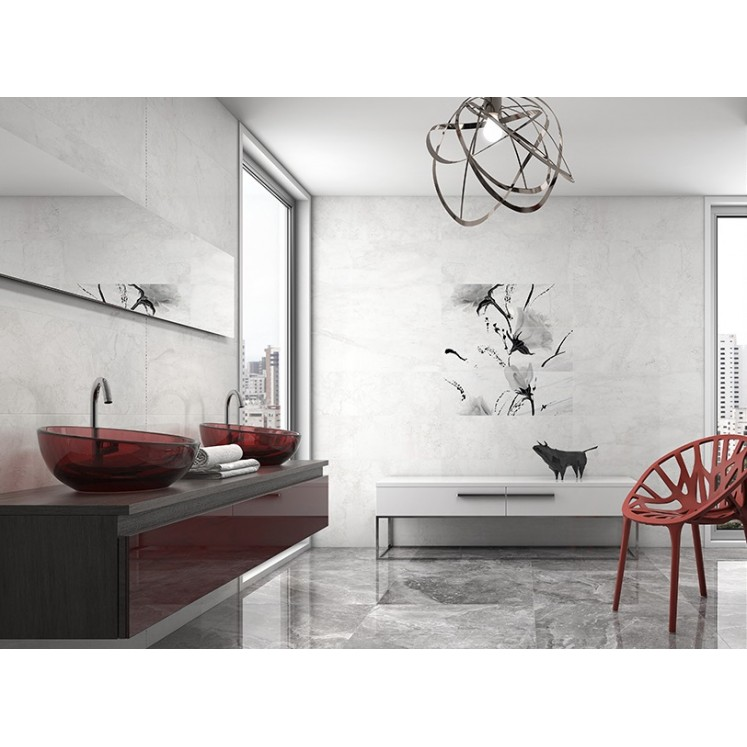 Azulejo Madagascar 30x90 blanco marmoleado para pared